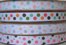 10mm COLOURFUL DOTS GROSGRAIN RIBBONs